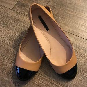 Zara Tan Ballet Flats w/ Black Patent Leather Toe